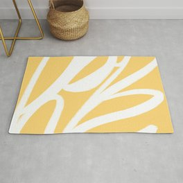Happy Abstract - Lemon Yellow and White Abstract Rug