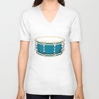 drum V-neck T-shirts featuring Drum - Red by Ornaart