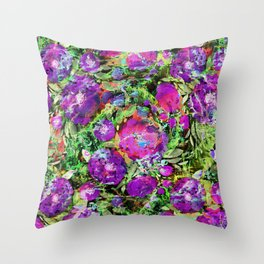Abstraction with purple flowers. Throw Pillow