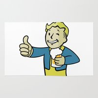 fallout Area & Throw Rugs featuring Fallout Vault Boy by Komrod