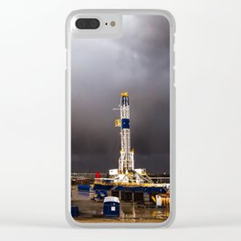 Oil Rig - Storm Passes Behind Derrick in Central Oklahoma Clear iPhone Case