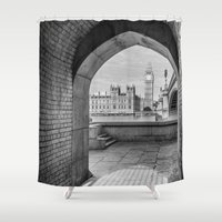 politics Shower Curtains featuring Big ben and bridge by Solar Designs