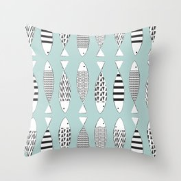 Nordic fish Throw Pillow