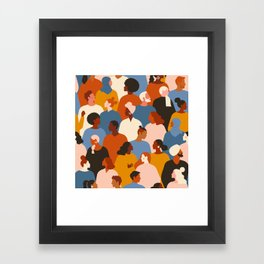 Diverse group of stylish people standing together. Framed Art Print