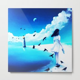 The Girl Walking And The Lighthouse Metal Print