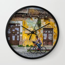 Antigua by bicycle Wall Clock