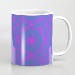 Fuchsia & Blue Spoked Wheel Pattern Coffee Mug