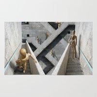 escher Area & Throw Rugs featuring Los dummies de Escher by APO+