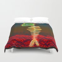 selena gomez Duvet Covers featuring Fish-Bone by Menchulica