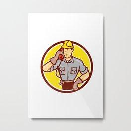 Telephone Repairman Phone Circle Cartoon Metal Print