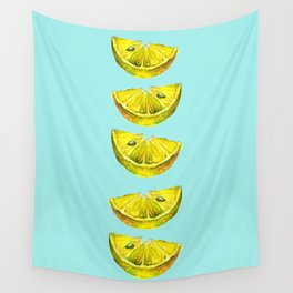 Lemon Slices Turquoise Wall Tapestry