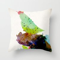 shipping Throw Pillows featuring Bird standing on a tree by contemporary