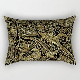 Black and gold ethnic paisley pattern Rectangular Pillow