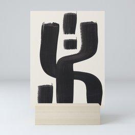 Mid Century Modern Minimalist Abstract Art Brush Strokes Black & White Ink Art Alien Symbol Pattern Mini Art Print