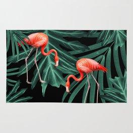 Summer Flamingo Jungle Night Vibes #2 #tropical #decor #art #society6 Rug