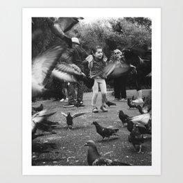 Pidgeon Suprise Art Print