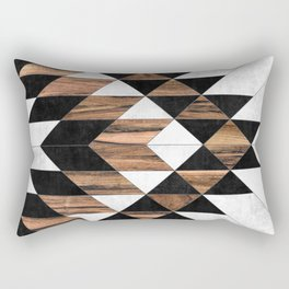 Urban Tribal Pattern No.9 - Aztec - Concrete and Wood Rectangular Pillow