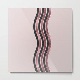 Pastel Pink Textured Black  Waves Metal Print