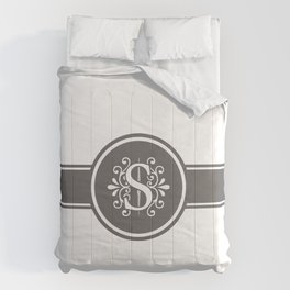 Monogram Letter S in Gray and White Comforters