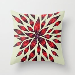 Abstract Red Flower Doodle Throw Pillow