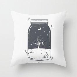Halloween in a jar Throw Pillow