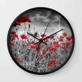 Idyllic Field of Poppies with Sun Wall Clock