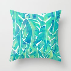 Split Leaf Philodendron – Turquoise Throw Pillow