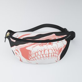 Liquify Skull in black and living coral Fanny Pack