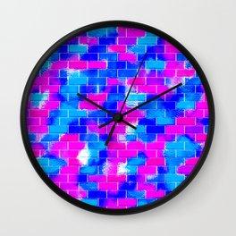 BRICK WALL SMUDGED (Blues & Fuchsias) Wall Clock