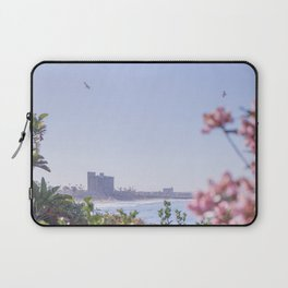 california oceanscape - flowers and seagulls Laptop Sleeve
