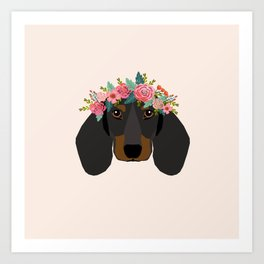 Dachshund floral crown dog breed pet art dachshunds doxie pupper gifts Art Print