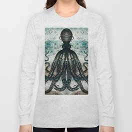 Octopus In Stormy Water Long Sleeve T-shirt