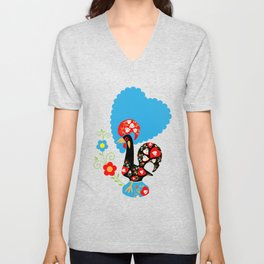 Portuguese Rooster of Luck with blue dots Unisex V-Neck