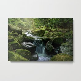 Flowing Creek, Green Mossy Rocks, Forest Nature Photography Metal Print
