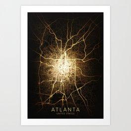 atlanta Georgia city night light map Art Print