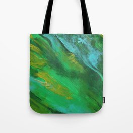 Square Green Abstract Acrylic Painting Tote Bag