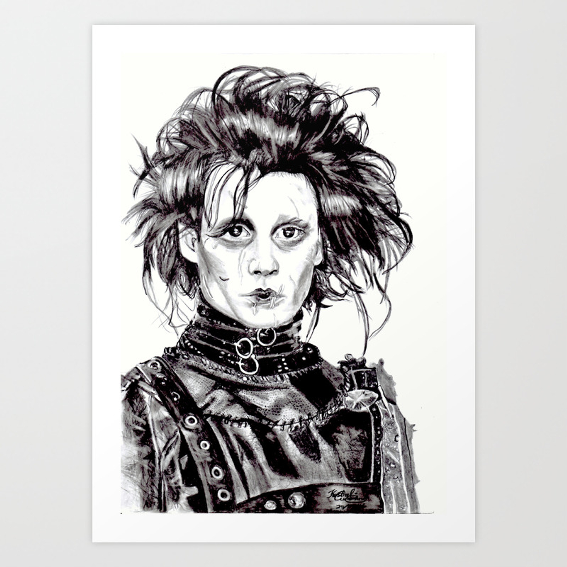 Edward Scissorhands Johnny Depp Art Print By Kestrelleighart