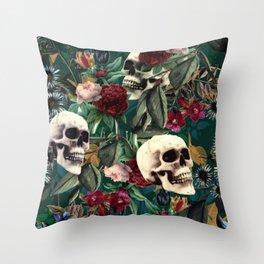 Flowers and Skulls (Green) Throw Pillow