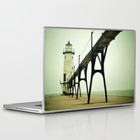 ocean Laptop & iPad Skins featuring Manistee Light by Olivia Joy StClaire