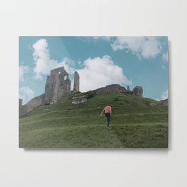 Corfe Castle and the Sky medieval Metal Print