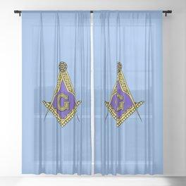 Freemason (Blue) Sheer Curtain