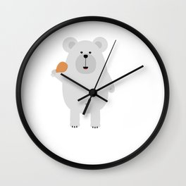 Polar Bear with Chicken Wall Clock