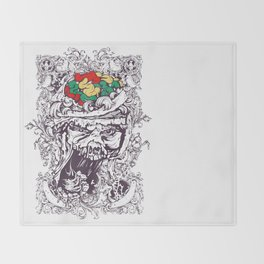 Skull with Brain OUT Throw Blanket