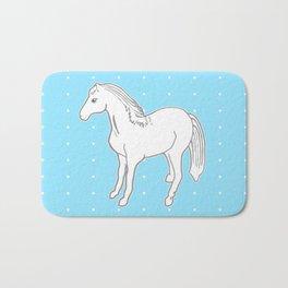 White Horse with Light Blue & Polka Dots Bath Mat