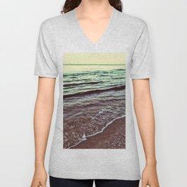 Green Ocean Waves Unisex V-Neck