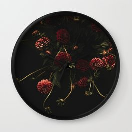 deep and dark Dahlias Wall Clock