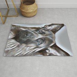 German Shepherd lovers- portrait of a beautiful German Shepherd Rug