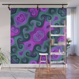 Green and Pink Square Wall Mural