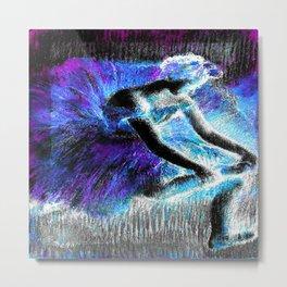 Black Ballerina  Violet Turquoise Blue Metal Print