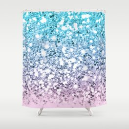 Sparkly Unicorn Blue Lilac & Pink Ombre Shower Curtain